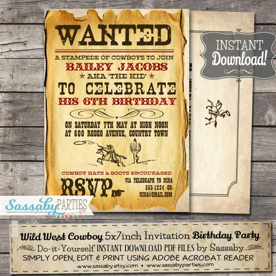 Wild West Cowboy Party Invitation INSTANT DOWNLOAD Partially – Wild West Party Invites