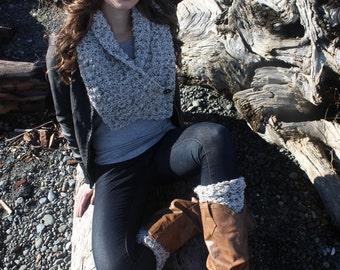 Scarf Crochet Pattern: 'Button Wrap Scarf, Headband, Boot Cuffs, Boho Fashion