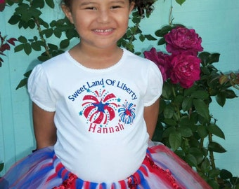 Personalized Sweet Land of Liberty Patriotic party garment