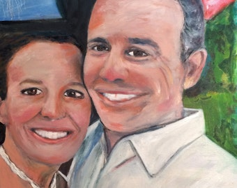 Happy Anniversary Couple Oil Painting oil portrait by Marlene Kurland 18 x 24