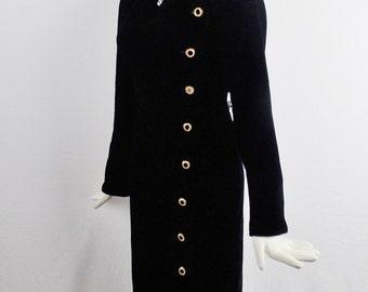 Vintage SAINT LAURENT Rive Gauche EVENING Cocktail Coat dress with Embellished Buttons Black Silk Velvet Size 38
