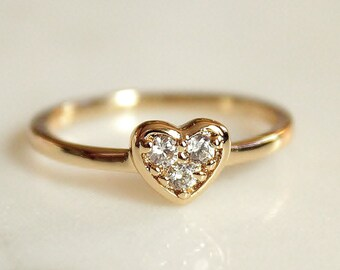 Gold Heart Ring - Small Heart ring - CZ Heart Ring - Stacking Ring