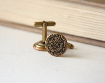 French Coin Cufflinks French Ecu Currency Coin 18th Century  - made with buttons embossed with the back of a French Ecu