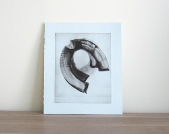 "TAKE 50% off use code SALE50. Etching . Pale Blue and Black : ""Oculus"". Print Size 11"" x 13"". unframed"