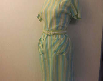 Vintage 1950's Green, White and Yellow Dress