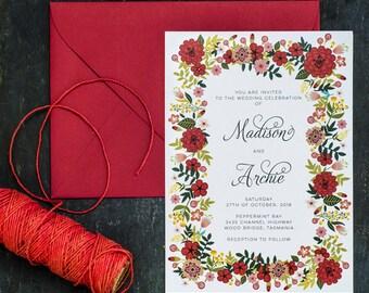 Red Blooms Wedding Invitation PDF