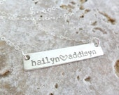 Mom Necklace | Sterling Silver Bar Necklace | Custom Name Jewelry | Mommy Jewelry | Personalized Bar Necklace | Two Names | Gift for Mom