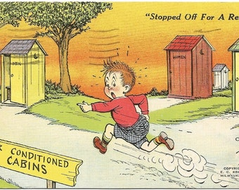 "Old Fashioned Outhouses ""Air Conditioned Cabins"" Comic Vintage Linen Postcard"