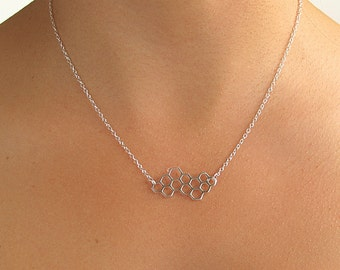Silver Honeycomb Necklace - Honeycomb charm - Silver Honeycomb Pendant