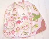 CLEARANCE/Baby Bib/Infant--18 mo./Set of Two Bibs/Animal Parade/Organic Fleece Back