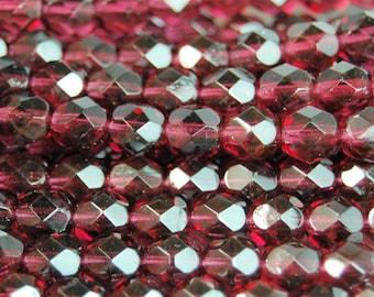 Fuchsia Crystal Czech Glass Bead 6mm Round - 25 Pc