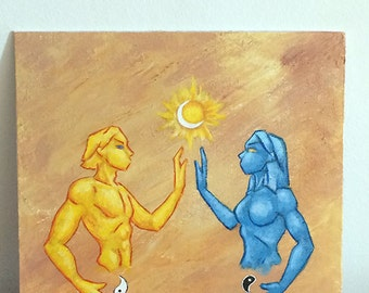 "Opposites Soul Mate Original Acrylic Painting 10x10"" Male Female Wicca God Goddess - Brandy Woods"