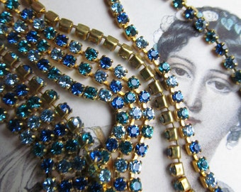 "Vintage Swarovski ""Shades Of Blue""   Rhinestone Chain"