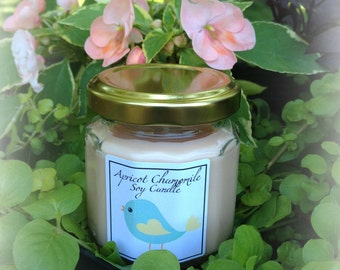 Apricot Chamomile 4 ounce Soy Candle, So fresh and fruity, hemp wick, Delightful Summer Candle