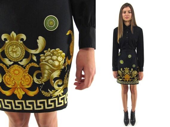 SALE - Vintage 80s Baroque Mini Skirt, Body Con Skirt, High-Waist Skirt ΔΔ sm
