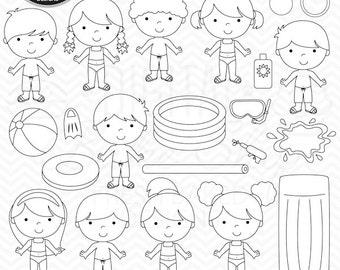 pool party digital stamps - Pool Party Kids Digital Stamps