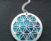 Large Blue Flower of Life pendant on silver chain - Handcrafted Sacred Geometry Jewellery
