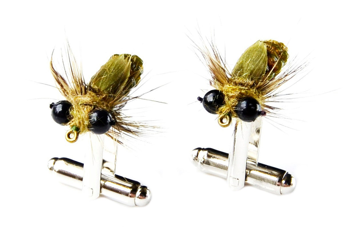 Fly fishing cufflinks fly fisherman gift wedding by mancornas for Fly fishing gifts