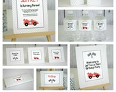 Editable Race Car Party Pack and Invite - Instant Download, Printable Templates - Fill in Text and Print at home with Adobe Reader .. rc01