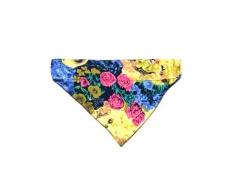 Medium Vibrant Floral Hawaiian Slip On Dog Bandana Over the Collar