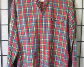 Vintage Shirt Chaps by Ralph Lauren Preppy Plaid Red Green Yellow M Long Sleeve 42 Chest M Medium