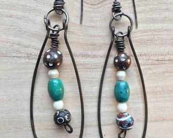 Sale. Boho Teardop Earrings- Beaded Dangle Earrings, Gift Tribal drop earrings, primitive earrings, blue red and bone beads, Sterling Silver