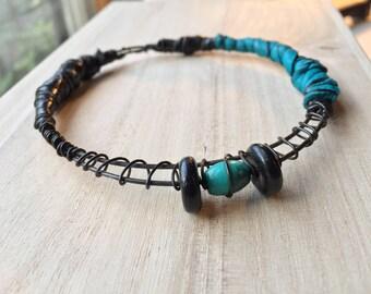 Black and Blue Leather Gypsy Bracelet, Tribal Stacking Bangle, dark metal Belly Dance Jewelry, boho bracelet, beaded bracelet, Bohemian