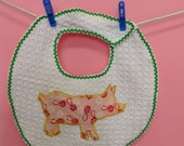 Baby Bib with Piggy vintage applique in pink, vintage fabric, cotton waffle weave, cozy bib, hanky blanky,