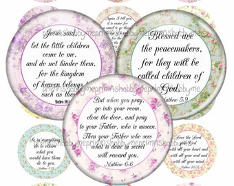 Bible Verses, 2 Inch Circles, Digital Collage Sheet, Christian, Jesus, Instant Digital Download, For Cupcake Toppers, Magnets, Glass Tiles