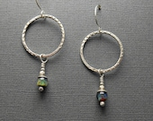 Textured Sterling Silver Hoop Earrings with Contemporary Glass Lampwork Beads C