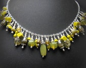 Sterling Silver Treasure Charm Necklace with Lime Yellow Green Stone and Glass Beads