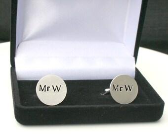 Sterling Silver Cufflinks - Hand Stamped Cufflinks - Custom Cufflinks - Personalized Cufflinks