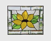 Made to order Beveled stained glass panel window sunflower abstract suncatcher stained glass window panel window hanging flower 0105