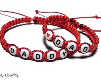 Matching Dad Daughter Bracelets, Daddy Daughter Bracelets, Fathers Day Gift, Father Daughter Jewelry, Macrame Bracelet, Red Cord Bracelets
