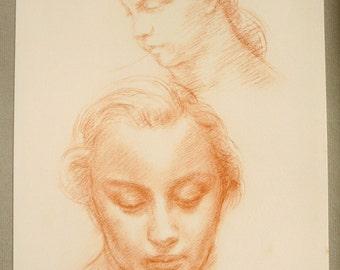 Pastel portrait 1942 Robert Wlérick, reproduction print
