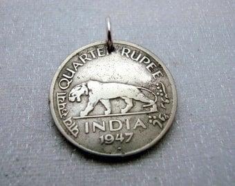 Tiger necklace - Antique India quarter Rupee COIN NECKLACE - India - tiger necklace - mans gift - leopard - lion - panther - man necklace
