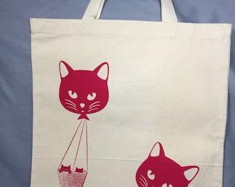 Tote Bag, Cat, Kitty, Cat Balloon, Funny Tote Bag, Whimsical, Cat Bag, Kitty Bag