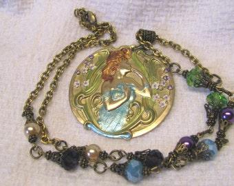 Art Nouveau Woodland Goddess Necklace, Woodland Nymph Goddess Hand Painted Brass Art Nouveau Woman, Purple, Turquoise Cream Beads