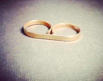 Golden Brass Two Finger Ring