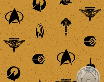 122000160 - Star Trek - Icons in Gold Quilting Cotton Fabric - Sold by the yard