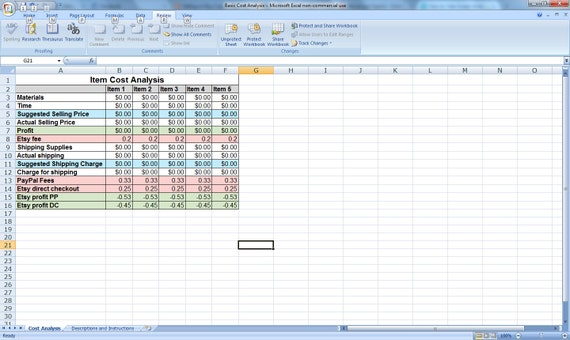 selling on etsy cost analysis excel spreadsheet by