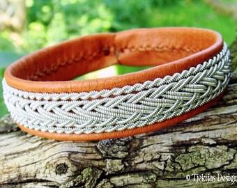 Tjekijas Sami Viking Bracelet HEDRUN Swedish Lapland Bark Brown Reindeer Leather with Tin Thread Braid - Handcrafted Natural Nordic Elegance