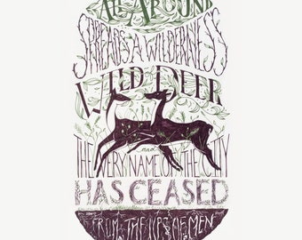Preorder Wild Deer Letterpress poster