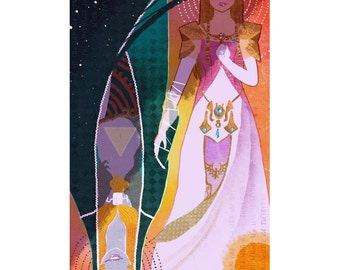 Midna and Zelda Tarot Style CROSS STITCH PATTERN The Legend of Zelda, Nintendo Princesses, Original Art by Glasmond