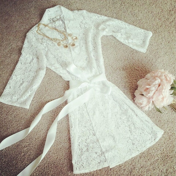 Bridal Robe To Get Ready In: Lace Bridal Robe Lingerie Getting Ready By TheLittleWhiteDress