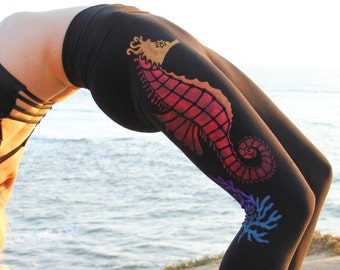 Beachy YOGA PANTS, Hand Painted Seahorse Pants, Gifts for Yogis