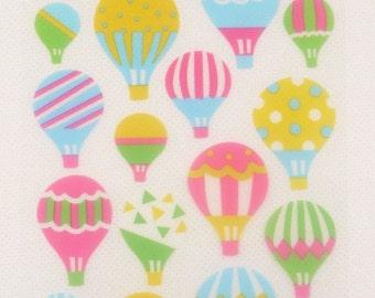 Deco Translucent Sticker - Sukeru Seal - Colorful Hot Air Balloon - 1 sheet