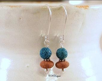 SALE Earthy Lava Rock Earrings, Natural Red and Teal Lava Rock Beads, Beaded Pierced Earrings. OOAK Handmade Earrings. CKDesaigns.US