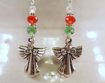Angel Christmas Earrings,  Christmas Beaded Dangle Pierced or Clip-on Earrings. OOAK Handmade Earrings, CKDesigns.us