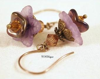 Lucite Earrings, Bell Flower Earrings, Victorian Earrings, Vintage Style Dangle Pierced Earrings. OOAK Handmade Earrings. CKDesigns.us